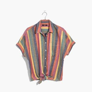 Short Sleeve Rainbow Stripe Tie Front Shirt